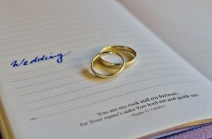 image of wedding bands on top of bible verses about relationships