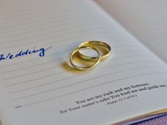 image of wedding bands and bible verses about relationships