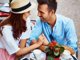 what to talk about with a guy couple in cafe talking image