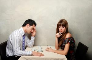 man and woman talking he is scared of relationship
