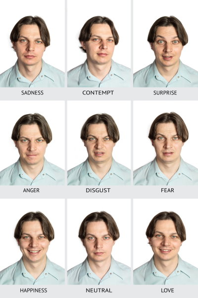 image with man having different facial expressions